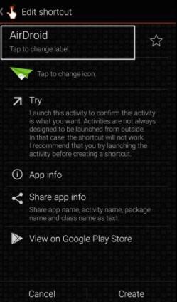 تطبيق QucikShortCutMaker لتغيير اسم التطبيق