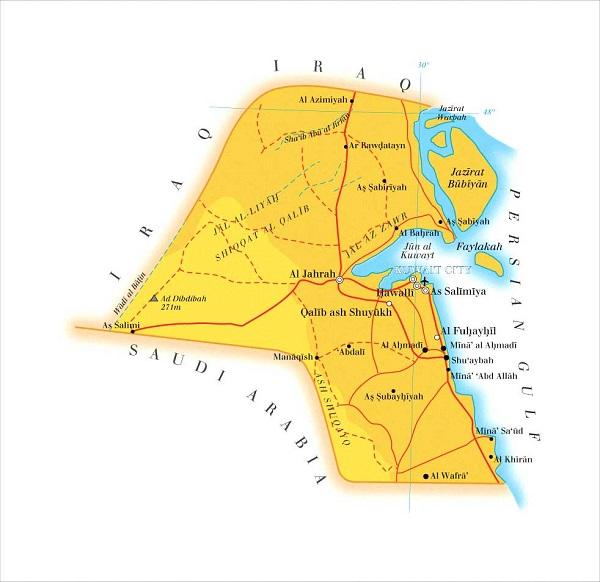 خريطة الحدود البحرية للكويت