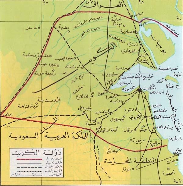 خريطة دولة الكويت البرية